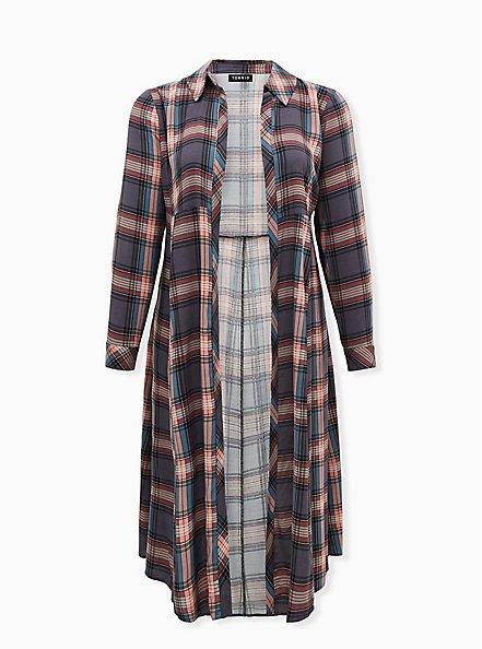 Multi Plaid Challis Duster Shirt Kimono, PLAID - GREY, hi-res