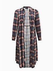 Multi Plaid Challis Duster Shirt Kimono, PLAID - GREY, hi-res