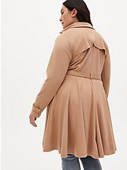 Camel Brushed Ponte Double-Breasted Swing Trench Coat, MACCHIATO BEIGE, alternate