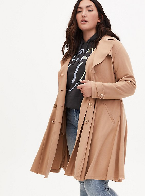 Camel Brushed Ponte Double-Breasted Swing Trench Coat, , hi-res