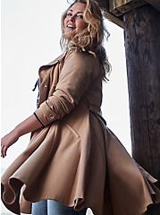 Camel Brushed Ponte Double-Breasted Swing Trench Coat, MACCHIATO BEIGE, hi-res