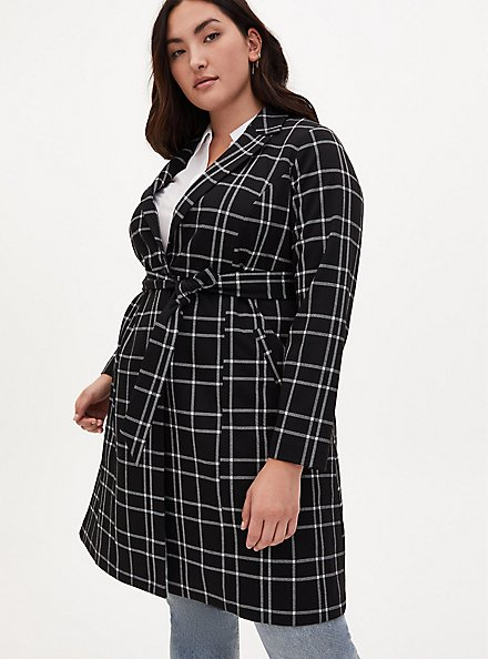 Black & White Plaid Belted Longline Blazer, PLAID - BLACK, alternate