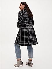 Plus Size Black & White Plaid Belted Longline Blazer, PLAID - BLACK, alternate