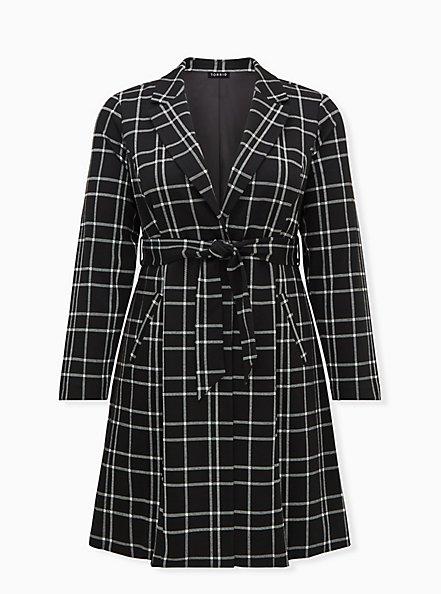 Black & White Plaid Belted Longline Blazer, PLAID - BLACK, hi-res