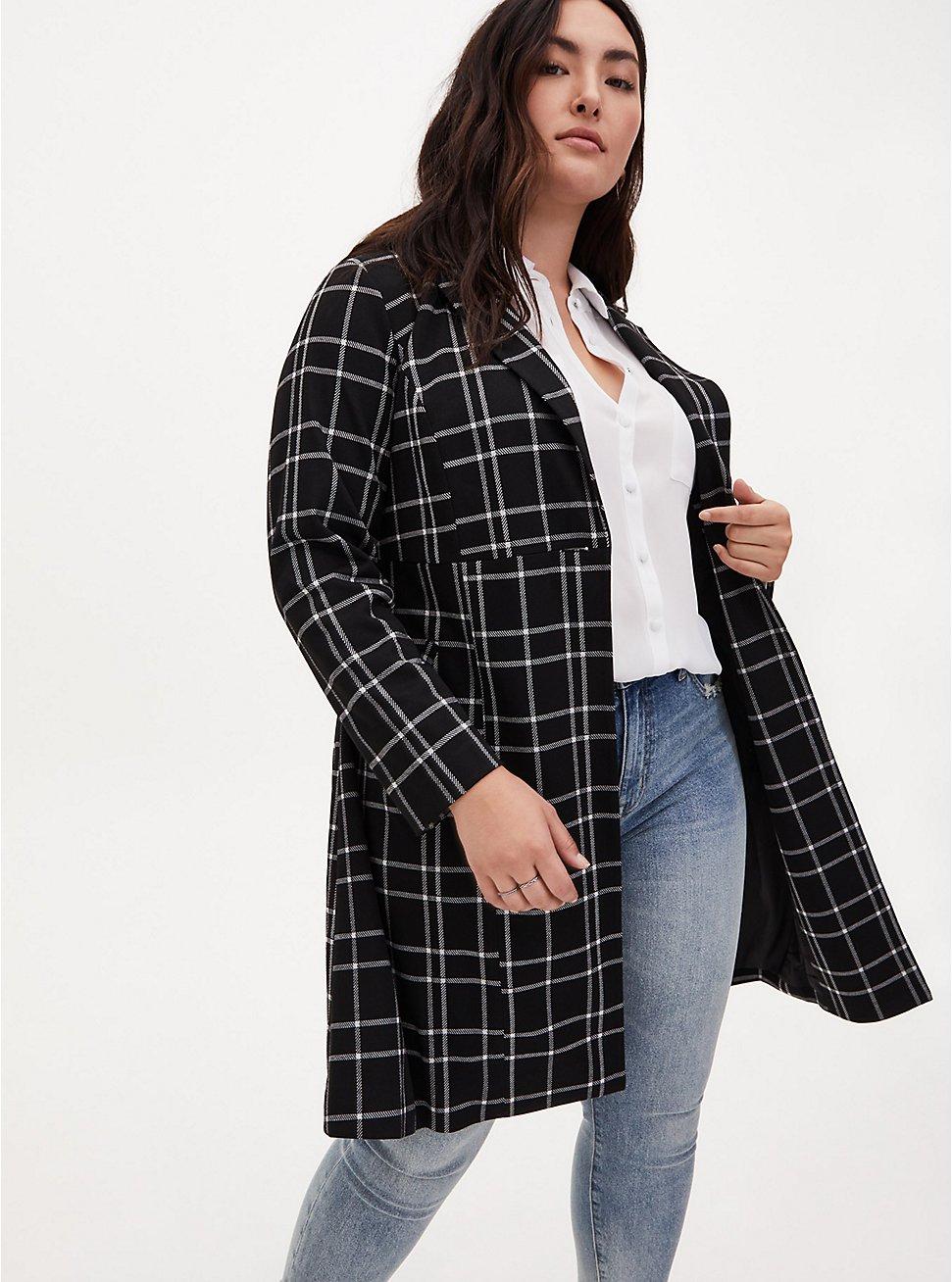 Plus Size Black & White Plaid Belted Longline Blazer, PLAID - BLACK, hi-res