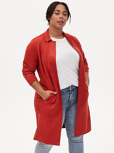 Orange Long Sleeve Suede Jacket, TANDOORI SPICE, alternate
