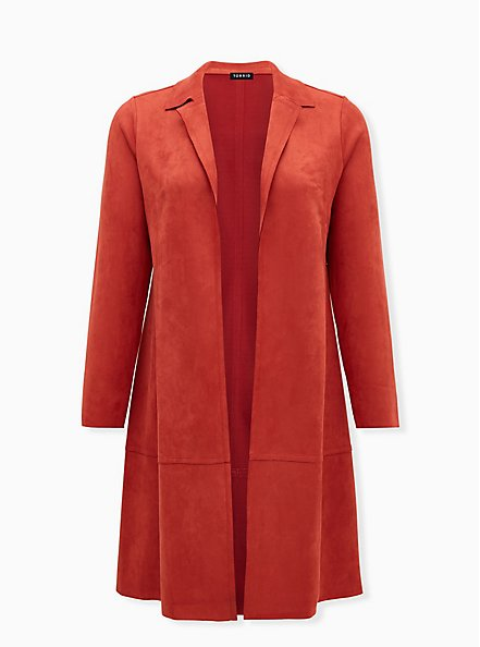 Orange Long Sleeve Suede Jacket, TANDOORI SPICE, hi-res