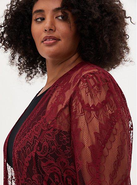 Long Sleeve Lace Kimono, CORDOVAN, alternate