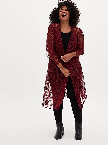 Long Sleeve Lace Kimono, CORDOVAN, hi-res