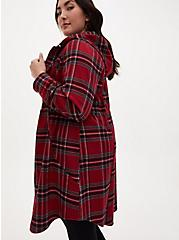 Dark Red Plaid Flannel Hooded Anorak, PLAID - RED, alternate