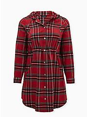 Dark Red Plaid Flannel Hooded Anorak, PLAID - RED, hi-res