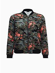 Camo Floral Twill Bomber Jacket, CAMO, hi-res