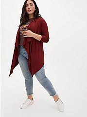 Brown Long Sleeve Ponte Drape Kimono, MADDER BROWN, alternate