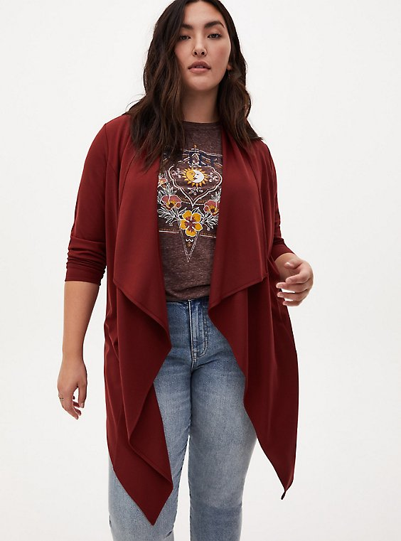 Brown Long Sleeve Ponte Drape Kimono, MADDER BROWN, hi-res