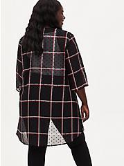 Black Plaid Flocked Dot Chiffon Kimono, PLAID - BLACK, alternate