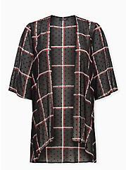 Black Plaid Flocked Dot Chiffon Kimono, PLAID - BLACK, hi-res