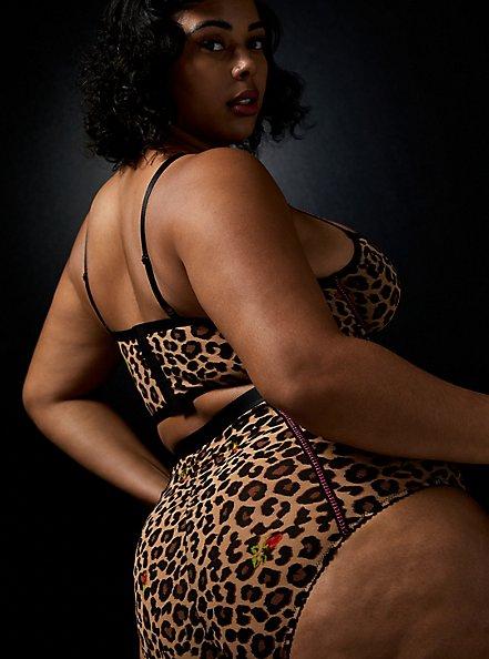 Betsey Johnson Leopard Floral High Waist Panty, LEOPARD ROSE BUD, alternate