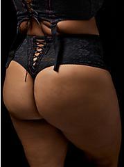 Betsey Johnson Lace Corset High Waist Thong Panty, RICH BLACK, alternate