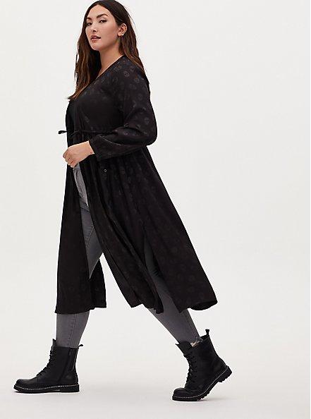 Plus Size Black Skull Jacquard Self Tie Kimono, SKULL - BLACK, alternate