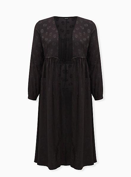 Plus Size Black Skull Jacquard Self Tie Kimono, SKULL - BLACK, hi-res