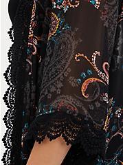 Black Paisley Crinkled Chiffon & Crochet Kimono, FLORAL - PINK, alternate