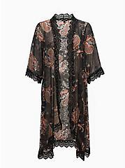 Black Paisley Crinkled Chiffon & Crochet Kimono, FLORAL - PINK, hi-res