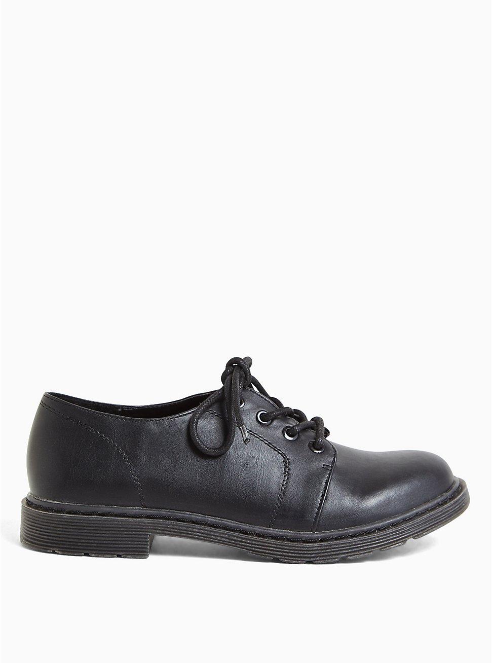 Black Faux Leather Lace-Up Oxford Flat (WW), BLACK, hi-res