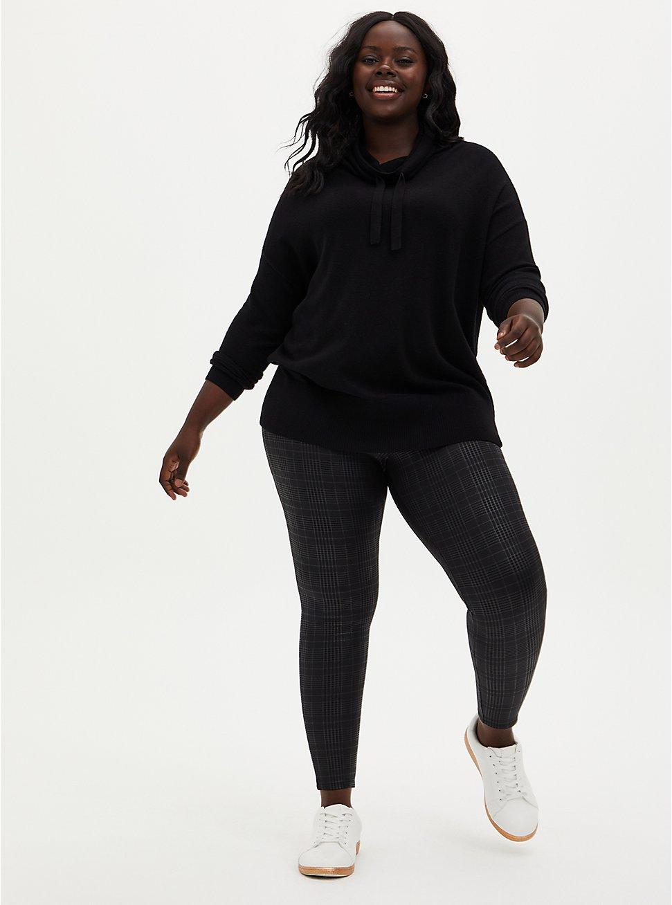 Plus Size Platinum Legging - Coated Ponte Plaid Black , BLACK, hi-res