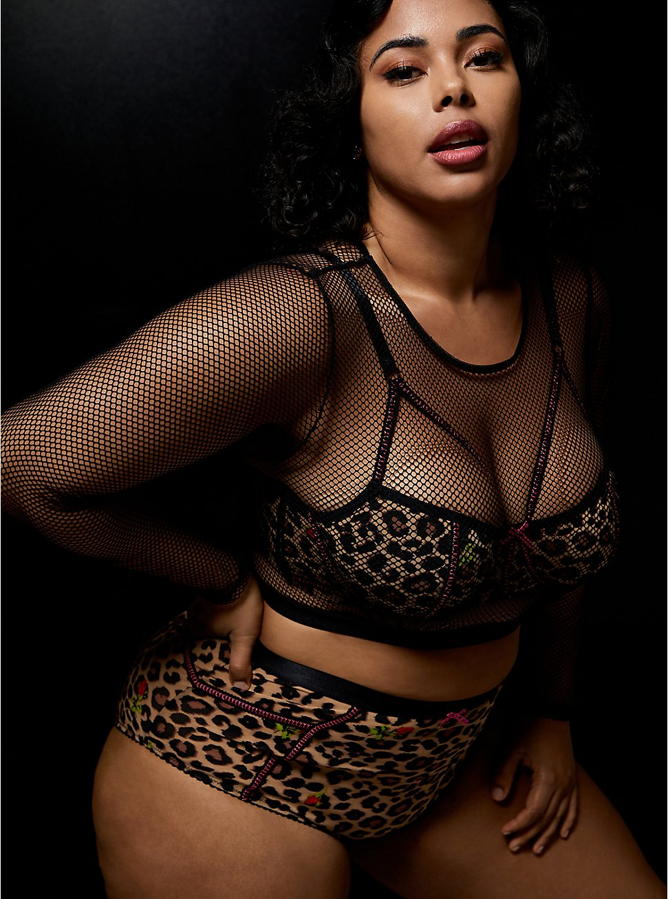 Betsey Johnson Fishnet Long Sleeve Under-It-All Crop Top and High Waist Cheeky Panty, , hi-res