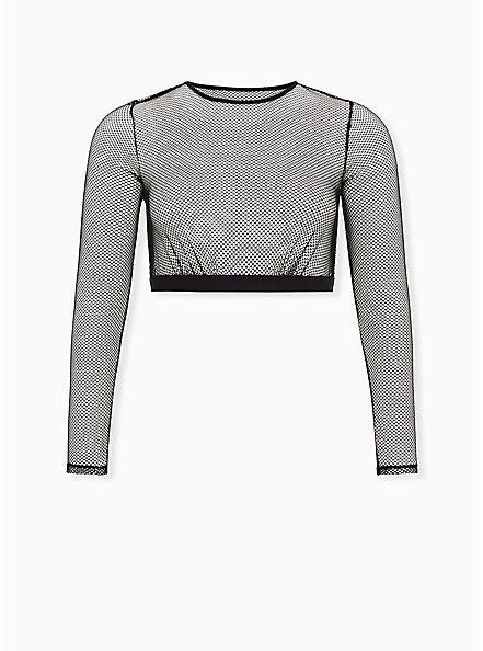 Betsey Johnson Fishnet Long Sleeve Under-It-All Crop Top, RICH BLACK, hi-res