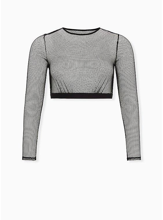 Betsey Johnson Fishnet Long Sleeve Under-It-All Crop Top, , flat