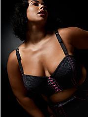 Betsey Johnson Lace Corset Longline Bralette, RICH BLACK, hi-res