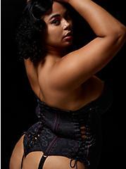 Betsey Johnson Lace Under Bust Corset Bustier, RICH BLACK, alternate
