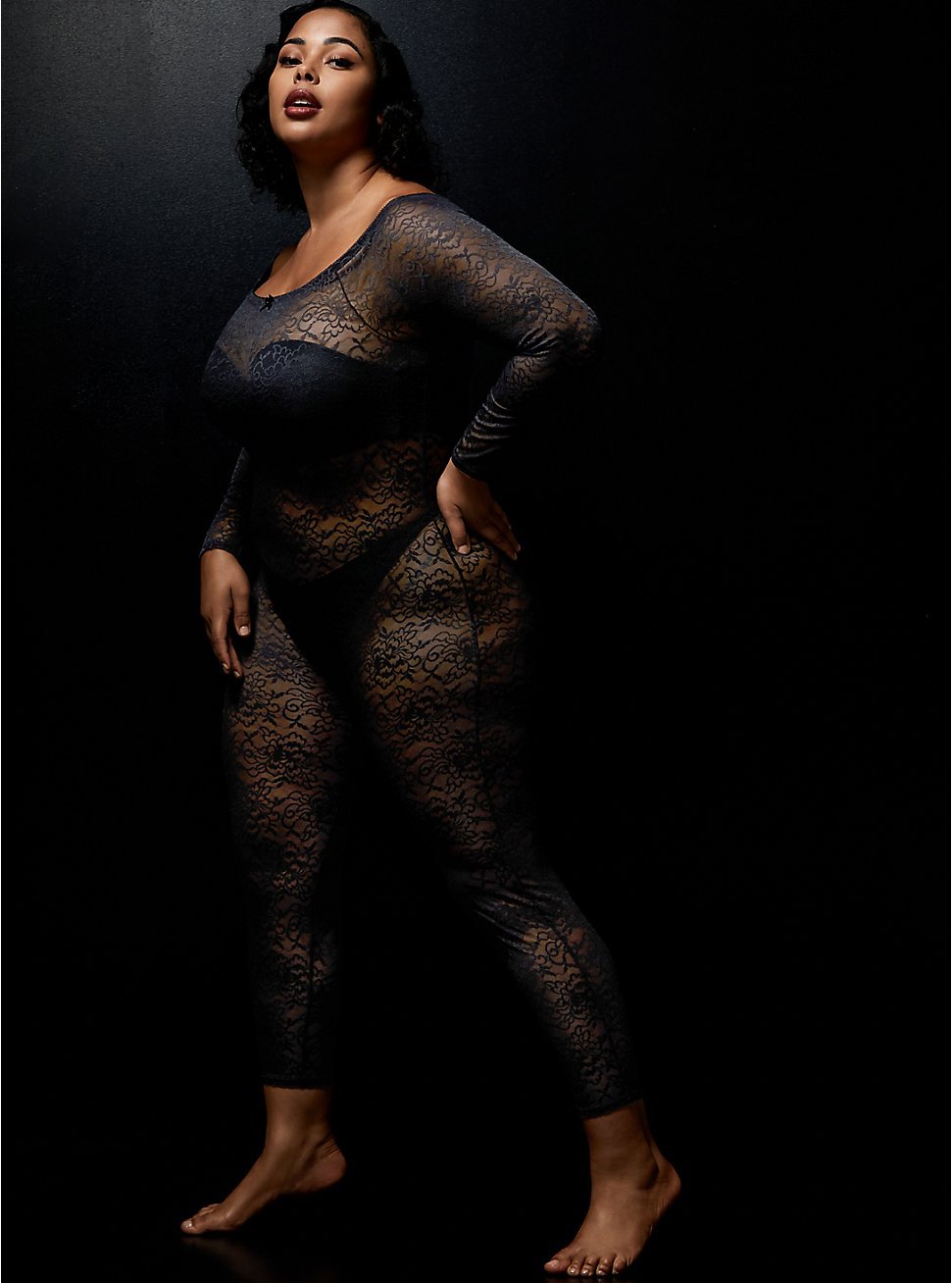 Betsey Johnson Lace Off The Shoulder Cat Suit, RICH BLACK, hi-res