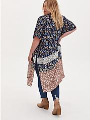 Mixed Floral Print Gauze Longline Kimono, BORDER - WHITE, alternate