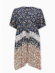 Mixed Floral Print Gauze Longline Kimono, BORDER - WHITE, hi-res