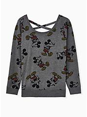 Disney Mickey Mouse Charcoal Grey Terry Lattice Back Active Sweatshirt, CHARCOAL HEATHER, hi-res