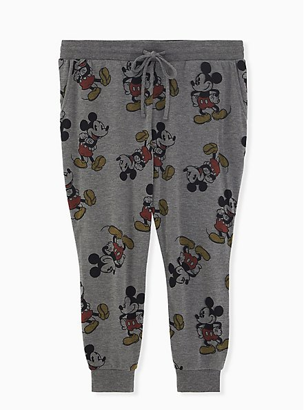 Disney Mickey Mouse Grey Terry Crop Active Joggers , CHARCOAL HEATHER, hi-res