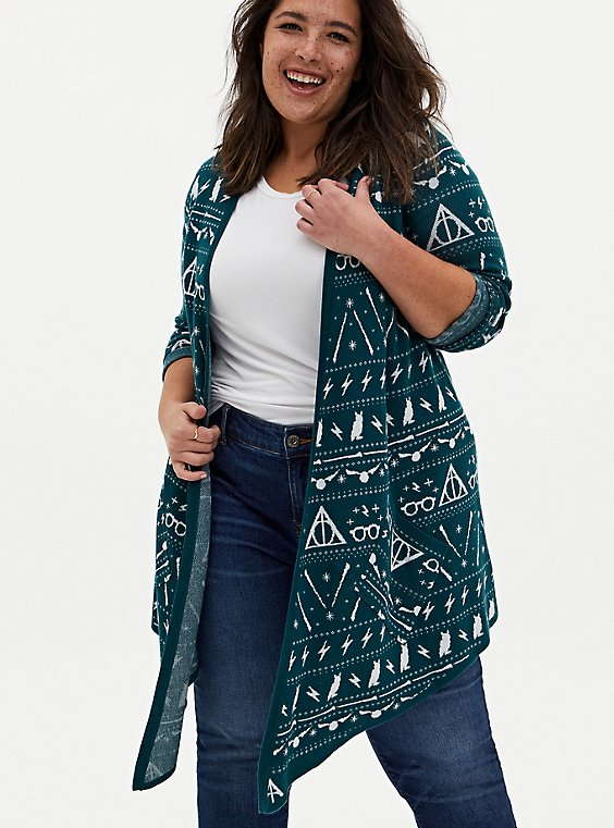 Harry Potter Fair Isle Holiday Teal Cardigan , , hi-res