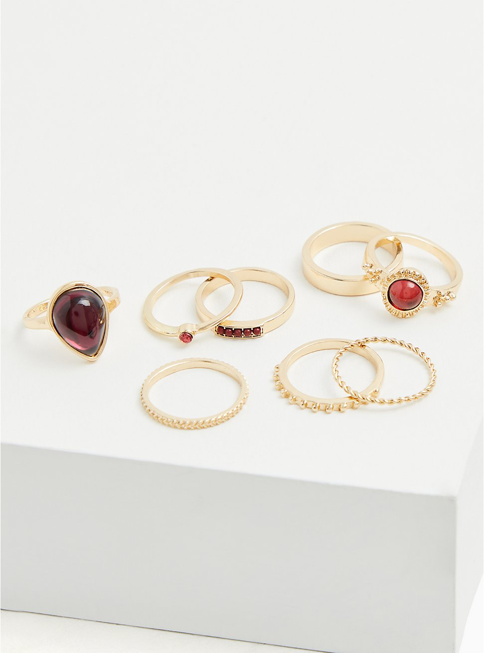 Gold-Tone Faux Ruby Stone Ring Set - Set of 8, GOLD, hi-res