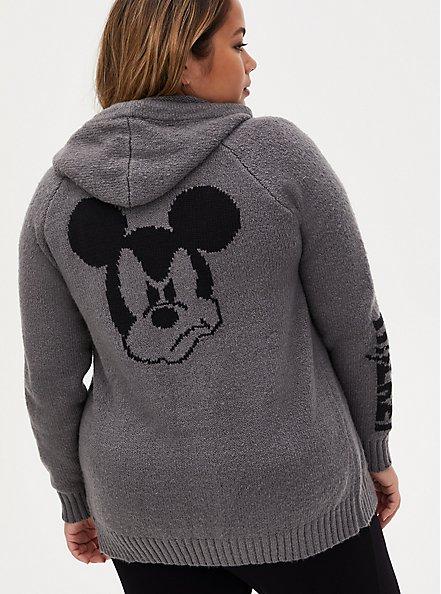 Disney Mickey Mouse Slate Brown Intarsia Zip Hoodie, GREY, alternate