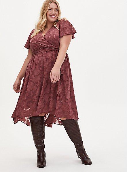 Pink Floral Burnout Jacquard Wrap Midi Dress, ROSE BROWN, alternate