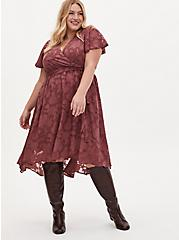 Pink Floral Burnout Jacquard Wrap Midi Dress, ROSE BROWN, alternate