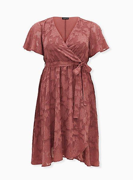 Pink Floral Burnout Jacquard Wrap Midi Dress, ROSE BROWN, hi-res