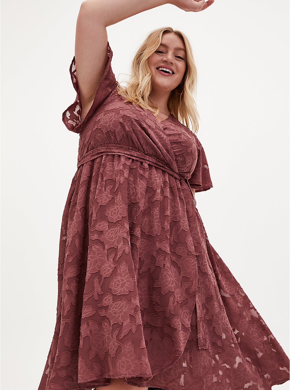 Pink Floral Burnout Jacquard Wrap Midi Dress, ROSE BROWN, hi-res
