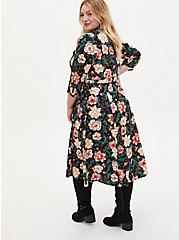 Black Floral Challis Self Tie Midi Shirt Dress, FLORAL - BLACK, alternate