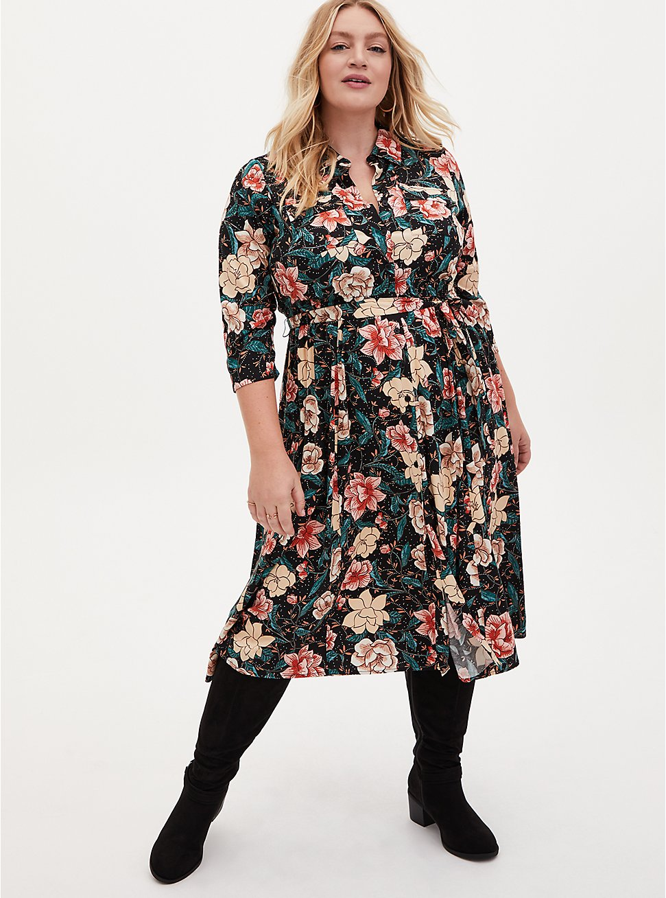 Black Floral Challis Self Tie Midi Shirt Dress, FLORAL - BLACK, hi-res
