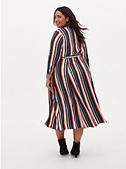 Multi Stripe Challis Self-Tie Midi Shirt Dress, MULTI STRIPE, alternate