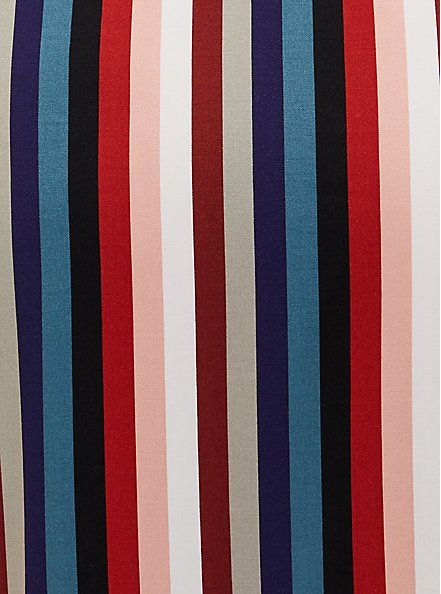 Multi Stripe Challis Self Tie Midi Shirt Dress, , alternate