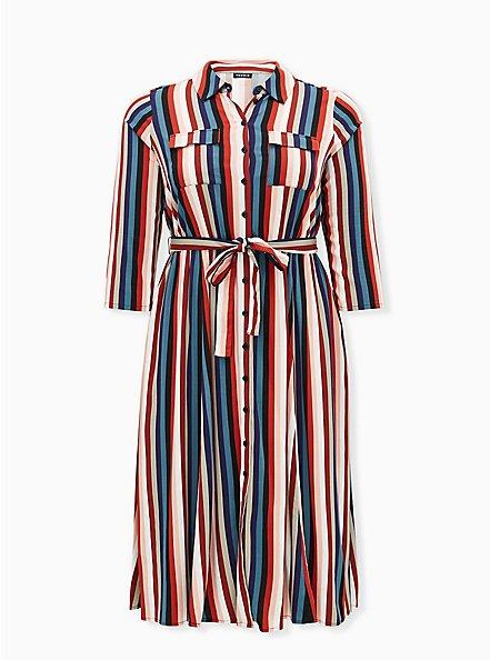 Multi Stripe Challis Self Tie Midi Shirt Dress, , hi-res
